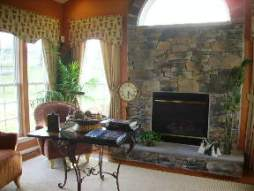 model home fireplace