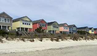 Homes on the beach at Surfside Beach, SC