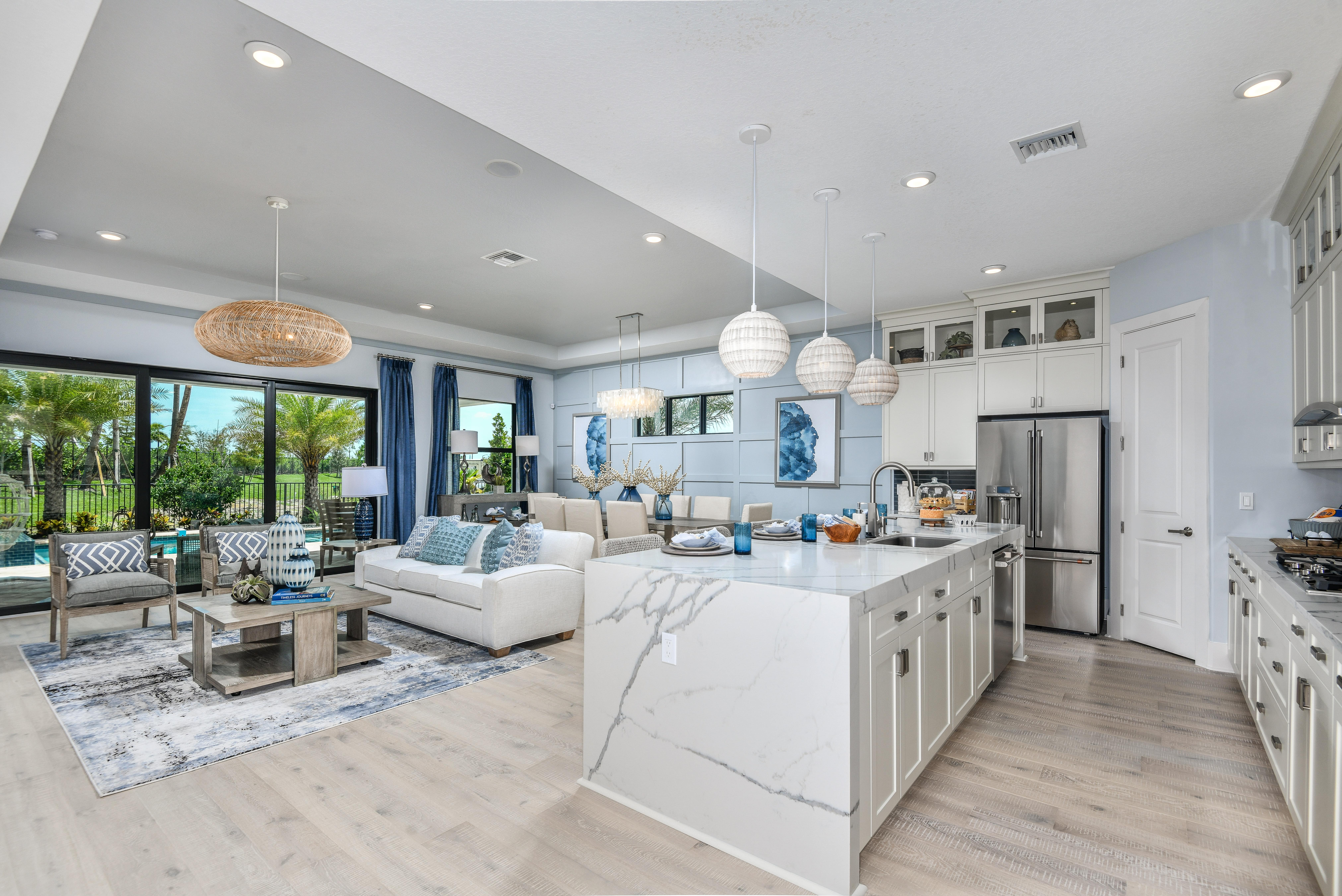 Palm Beach home interior with light colors