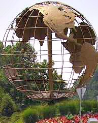 Leisue World Md globe at entrance