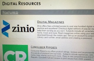 website page showing digital resources at library