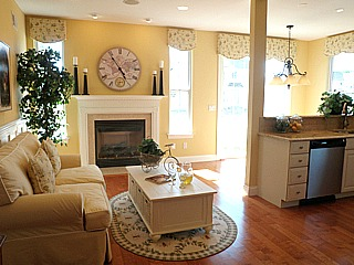 Vineyards at Moriches Lillet model home great room
