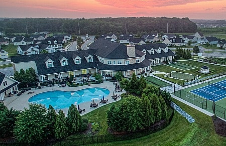 Nobles Pond 55+ Community clubhouse, pool and tennis courts