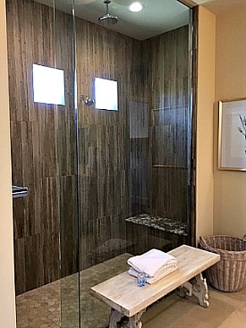 Rancho Mirage by Del Webb rain shower in spacious bath.