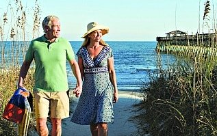 senior couple walking at Myrtle Beach SC