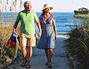 senior couple walking on beach at Myrtle Beach.