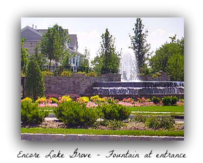 Encore Lake Grove fountain entry