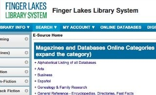 library website page showing database directory