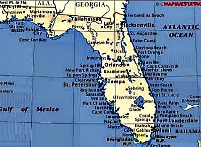 Florida Retirement Communities - Florida east coast map