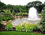 Stoneleigh Woods entry fountain and pond on Long Island