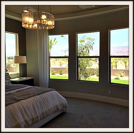 Rancho Mirage 55+ community bedroom with desert and mountain views