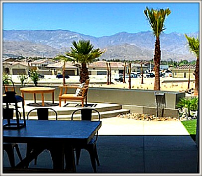 Rancho Mirage by Del Webb patio view with tiny waterfall feature