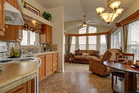 manufactured home kitchen and living rooms